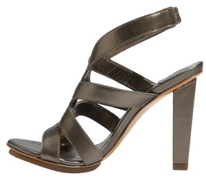 Diane von Furstenberg Metallic Strappy Cut Out Ankle Strap Pewter Sandals