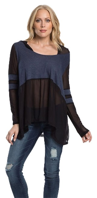 Item - Blue/Black Scoop Neck with Hood Large Tunic Size 14 (L)
