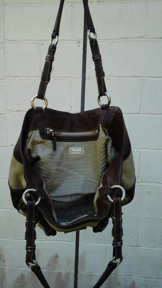 Prada Milano Dal 1913 Brown Natural Leather And Canvas Hobo Bag Tradesy