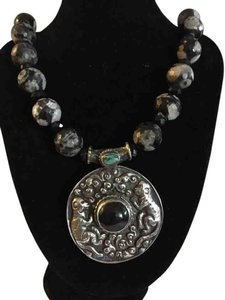 Silver, black onyx necklace with 2