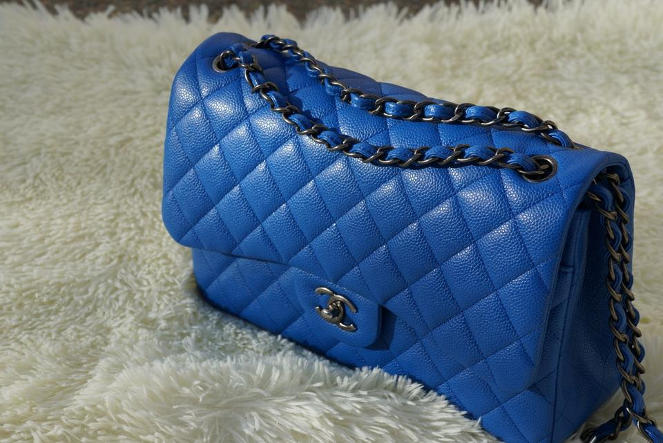 7accd9fe9b73 Chanel Classic Flap Jumbo Double Blue Caviar Shoulder Bag - Tradesy