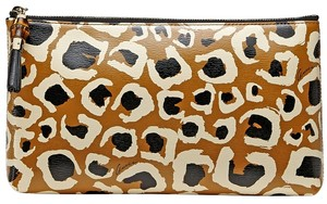Gucci Gucci Leopard Print Bamboo Leather Pouch Clutch