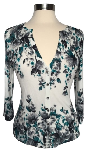 Item - Floral Teal Grey/Silver Cardigan Size 6 (S)