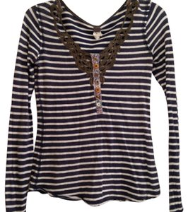 Free People Stripes T Shirt Multi blue