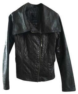 Guess Faux Leather Biker Motorcycle Dark Brown Leather Jacket