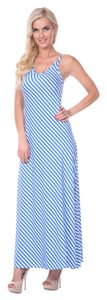 Blue Stripes Maxi Dress by White Mark Maxi Beach