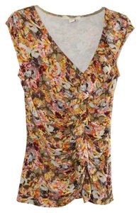 Anthropologie Top XS Floral Ruched Ruffles
