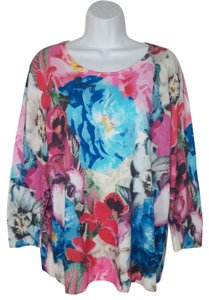 Talbots Floral Cotton Rayon Sweater