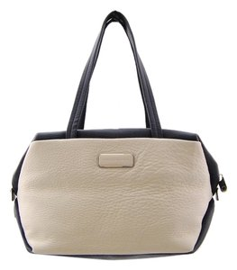 Marc Jacobs Leather Mj Tote in Navy Blue and White