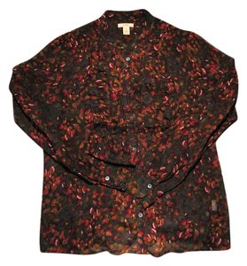 J.Crew Silk Chiffon Sheer Top Maroon/Multi