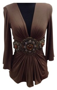 Sky Chain Kimono Rouched Rhinestone Modal Top Brown