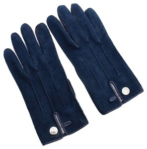 Hermès Vintage HERMES Blue Suede Gloves with Palladium Hardware Size 7