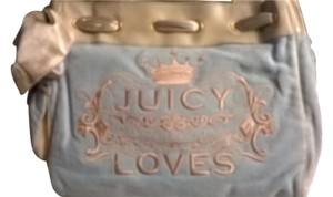 Juicy Couture Loves Velour Crown Satchel in Baby Blue w/ Cream Trim