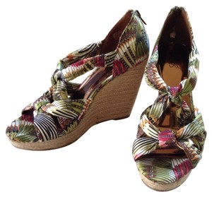 Carlos by Carlos Santana Green multi color with natural heel Wedges