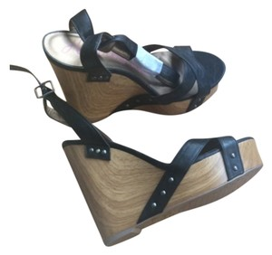 HeartSoul Black straps with brown wedge Wedges