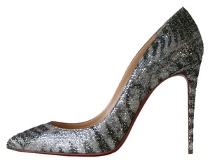 Christian Louboutin Pigalle Follies 100 Glitter Sirene So Kate 120 Pigalle Follies Silver Pumps