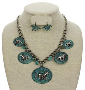 Reve 2pc Western Turquoise Horse Necklace Earring Set Free Shipping