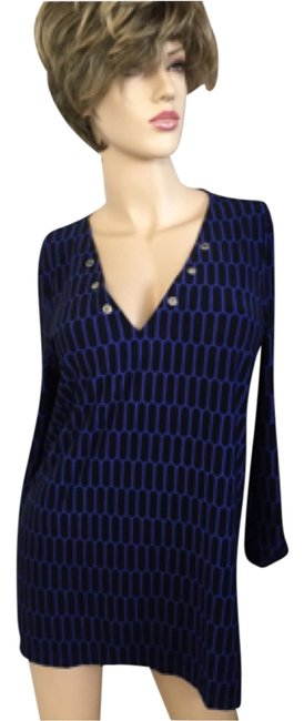 Item - Electric Blue/Black V Neck/ Tab Sleeves Tunic Size 6 (S)