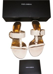 Dolce&Gabbana Gold Hardware Ivory Leather Ivory/Beige Sandals