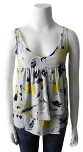 Yumi Kim Silk Print Top Cream, Navy, Yellow