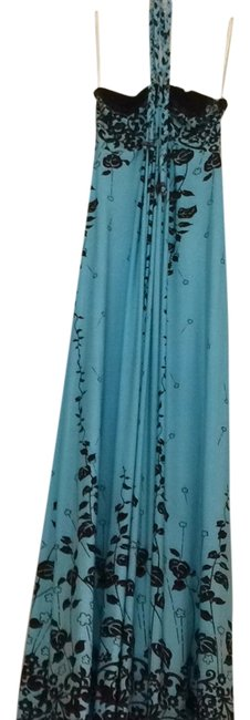 Item - Acqua Blue with Brown Floral Accents. Maxi Maternity Dress Size 6 (S, 28)