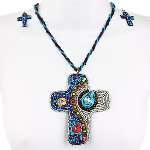 Noi 2pc Multi Colored Beaded Rhinestone Cross Necklace Earring Set Free Shipping