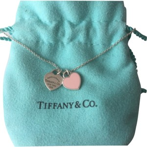 Tiffany & Co. Tiffany Pink Enamel Mini Doible Heart Silver 16
