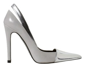 Zara Gray Metallic Cap Toe Pointed Pointy Heels Silver Pumps