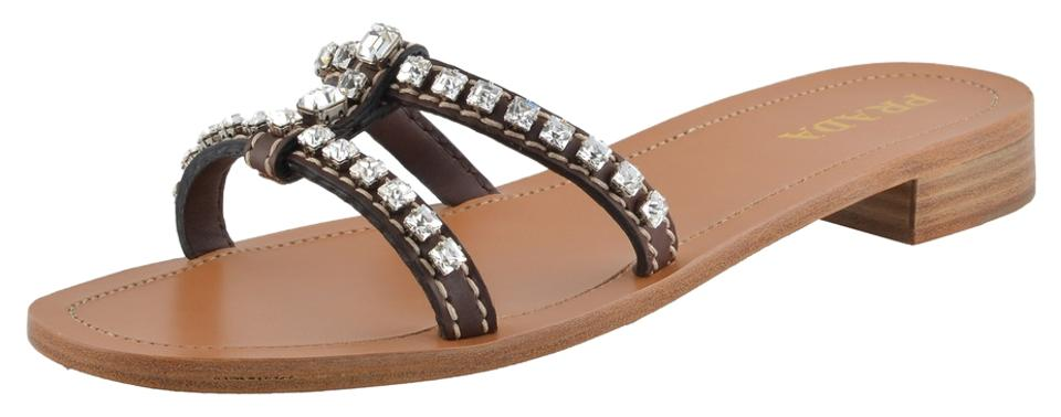 Prada Brown Flip Women's Leather Crystal Decorated Flip Brown Flop Mules/Slides 50e032