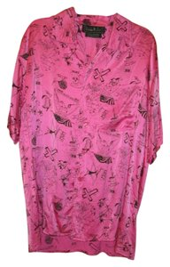 Nicole Miller Silk Limited Edition Short Sleeved Mens Top Hot pink with black design