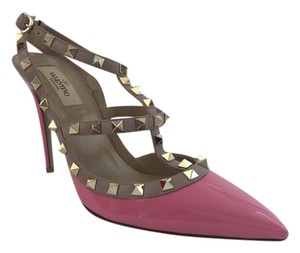 Valentino Rockstud Pink and Beige Pumps