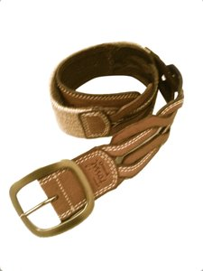 Fossil Fossil Tan Brown Braided Leather Belt, Size M, Stretch Canvas, Women's Casual Belt