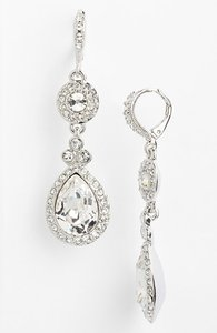 Givenchy Silver and Swarovski Crystal Drop Earrings