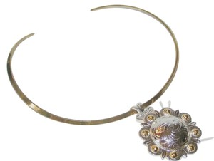 2 Tone Silver & Gold Concho and Adapter Collar Necklace Free Shipping
