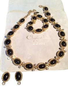 Dior Vintage Christian Dior Black Cabochon Set In Gold-tone with Swarovski Crystal Accents