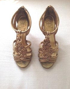 Tory Burch Metal Metallic Leather Strappy Gold Sandals