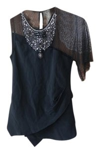BCBG Max Azria Womens Assymetric Clubwear Womens Clubwear Silk Embellished Silk Bib Top Black
