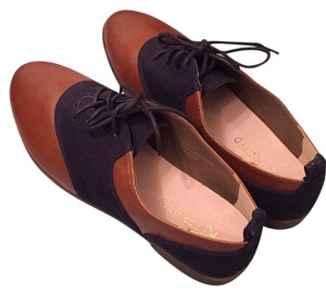 Restricted Oxford Menswear Trendy Color-blocking Brown and blue Flats