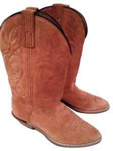 Other Country Genuine Cowgirl Cowboy Tan Suede Leather Boots