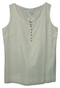 Soft Surroundings Cotton Sleeveless Top Cream