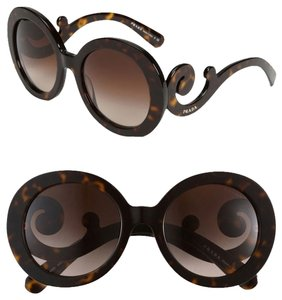 Prada Oversized Baroque 55mm Round Sunglasses Tortoise Dark Havana/Brown Shaded