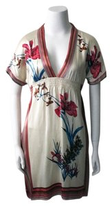Yumi Kim V-neck 100% Silk Silk Print Silk Dress