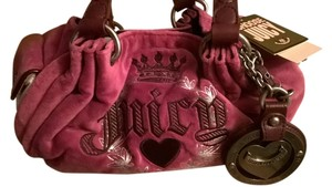 Juicy Couture Juicy Loves Crown Velour Leather Satchel in Magenta