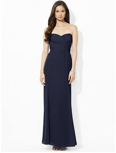 Ralph Lauren Lighthouse Navy Polyester Formal Bridesmaid/Mob Dress Size 4 (S)