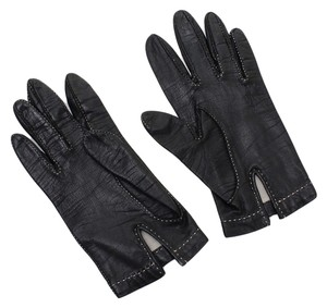 Hermès Hermes Black Lambskin Leather Gloves White Stitching Silk Lined Vintage, DoPEEK!