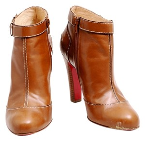 Christian Louboutin Ankle Leather Chunky Heel Brown Boots