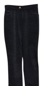 St. John Sport Velvet Sparkle Studding Boot Cut Pants Black
