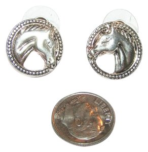 Round Silver Horse Head Earrings Free Shipping