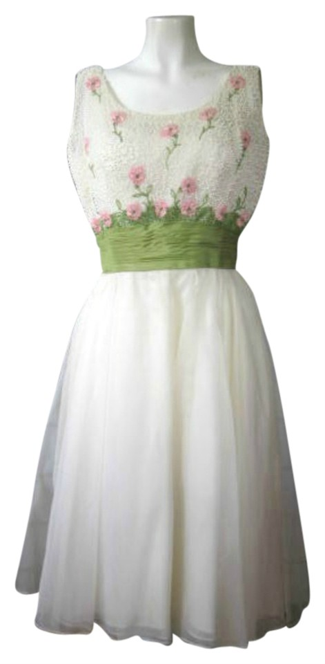 White Vintage Party 1950s 1960s Formal Mid-length Cocktail Dress ...