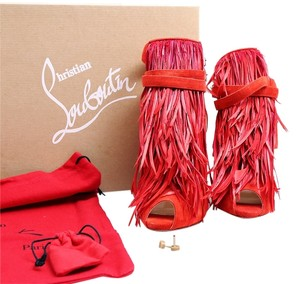 Christian Louboutin 120mm Suede Mandarin Red Platforms